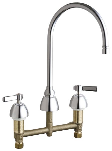 """13-1/8"""" H x 8"""" Clearance x 7-1/4"""" Reach 2-Lever Handle Deck Mount Hot and Cold Water Sink Faucet - ECAST, 1.5 GPM, Polished Chrome"""