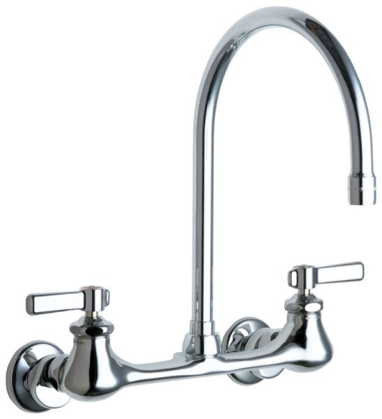 """11-5/8"""" H x 6"""" Clearance x 8"""" Reach 2-Lever Handle Wall Mount Hot and Cold Water Sink Faucet - ECAST, 2.2 GPM, Chrome Plated"""