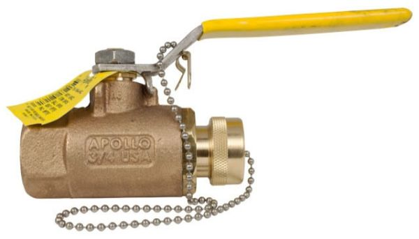 "1/2"" x 3/4"" Bronze Heavy Duty Ball Valve - Lever / Locking Handle, Soldered x Hose Threaded, 600 psi CWP"