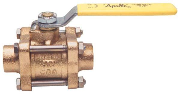 "3/4"" DZR Bronze Full Port 3-Piece In-Line Ball Valve - Lever Handle, Soldered, 600 psig CWP Non-Shock / 150 psi SWP"