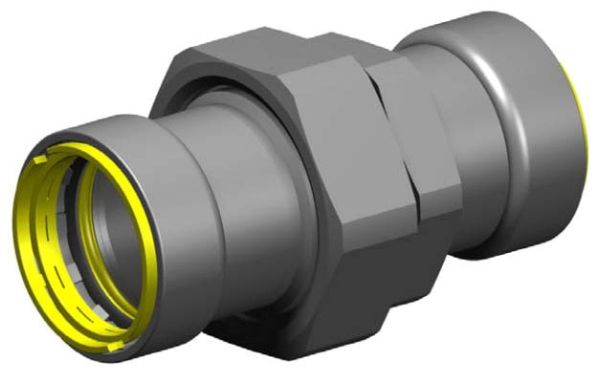 "1-1/2"" Zinc Nickel Coated Carbon Steel Straight Union - Press x Press"