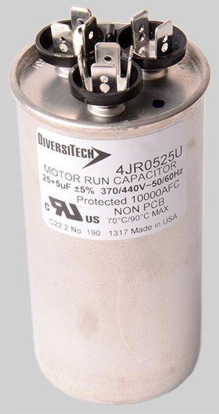 80+5 Microfarad 370 / 440 VAC 50 / 60 Hz Motor Run Capacitor - Dual Voltage, Metal, Round