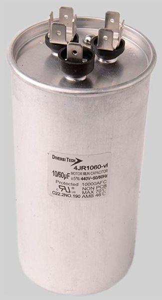 55+10 Microfarad 440 VAC Motor Run Capacitor - Dual Capacitance, Metal, Round