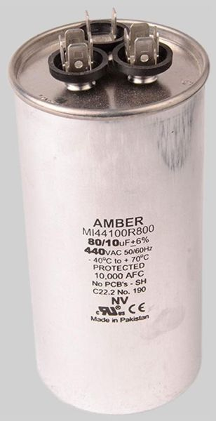 80+10 Microfarad 440 VAC 50 / 60 Hz Motor Run Capacitor - Dual Capacitance, Metal, Round