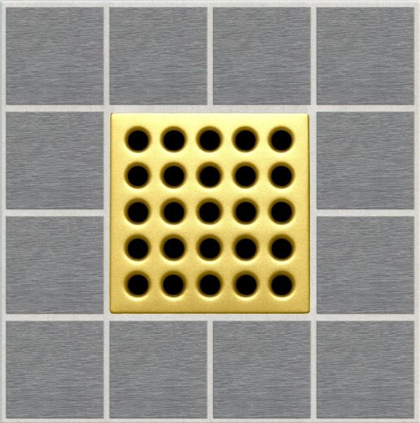 "3.75"" x 3.75"" x 0.46"" Stainless Clad / Polycarbonate Square Drain Grate - Satin Gold"