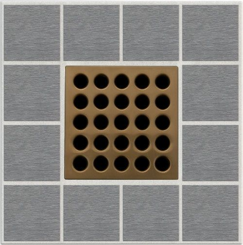 "3.75"" x 3.75"" x 0.46"" Stainless Clad / Polycarbonate Square Drain Grate - Brushed Bronze"
