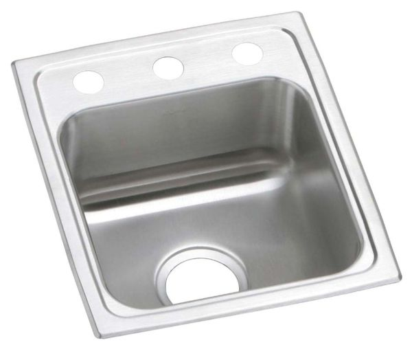 """17-1/2"""" x 15"""" x 7-1/8"""" Rectangle Single Bowl Drop-In Bar Sink - Brushed Satin, Stainless Steel, 1-Hole"""
