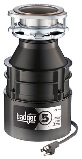 "InSinkErator Badger® Food Waste Disposer with Power Cord, 1-1/2"" Cushioned Slip Joint, 120 VAC 60 Hz 1-Phase 5.6 A, 1/2 HP, 1725 RPM, 26 Oz Capacity, Waterborne Gray Enamel, Galvanized Steel, Stainless Steel Grind, Wall Switch Control, Manual Reset, Continuous Feed"