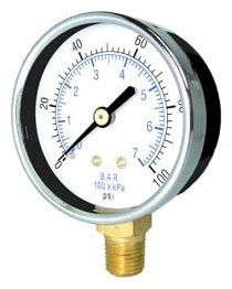 "1/4"" NPT 2-1/2"" Dial Utility Gauge - Steel Case, 0 to 100 psi"