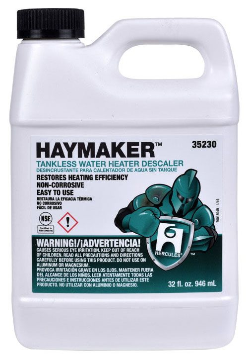 Hercules Haymaker™ Yellow Tankless Water Heater Descaler, 32 Oz Bottle, Liquid