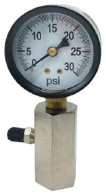"1"" FPT 2"" Dial Gas Test Gauge - Steel Case, 0 to 30 psi"