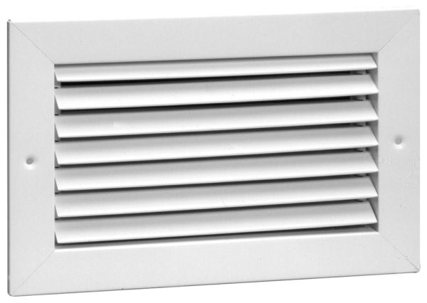"24"" x 24"" Bright White Enamel Steel Return Air Grille - 3/4"" Fin Spacing, 35D Fin Angle"