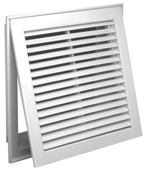 "20"" x 20"" Bright White Enamel Steel Return Air Filter Grille - 3/4"" Fin Spacing, 35D Fin Angle"