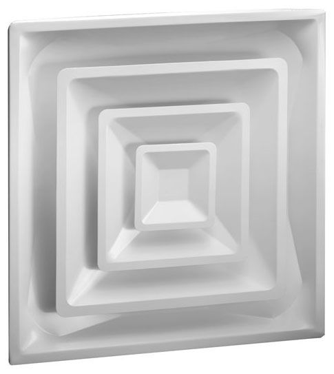 "23-3/4"" x 23-3/4"" Steel 4-Way 3-Cone Duct Diffuser - Bright White Enamel"