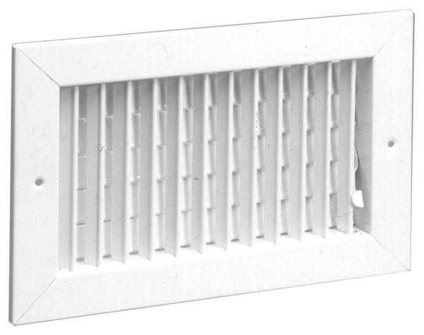"8"" x 6"" Steel Single Register - Bright White Enamel, Horizontal Multi-Shutter Valve, 1-Piece, Vertical Adjustable Face Bar"