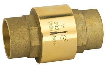 "1"" Forged Brass In-Line Check Valve - C, 300 psi WOG"