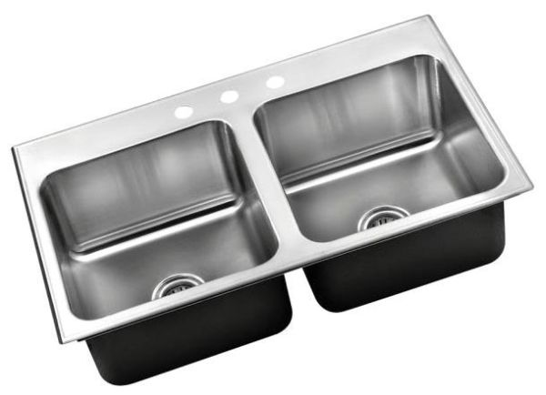 "33"" x 22"" Rectangle in Rectangle Double Bowl Ledge Kitchen Sink - Satin Blended, Stainless Steel, 3-Hole"