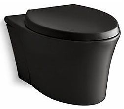 "13"" H Bowl Black Elongated Toilet Bowl - Veil, Reveal, Quiet-Close, Rear Outlet"