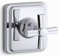 "4-1/2"" x 3-7/8"" x 4-1/2"" Polished Chrome Metal Faucet Volume Control Valve Trim - Pinstripe, 1-Handle, Cross"
