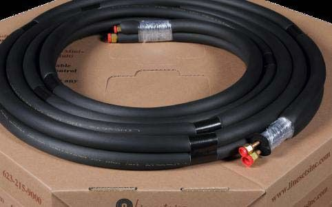 "3/8"" Liquid Line 3/4"" Suction Line 65' L Copper Mini-Split Line Set with Conductor Control Cable - 3/8"" Insulation, Plain End, Black"