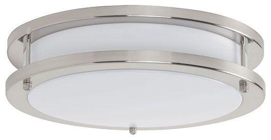 LED Flush Mount Ceiling Light Fixture - 26 Watt, Bright Satin Nickel, Acrylic