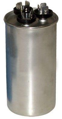 55 / 5 Microfarad 370 VAC 50 / 60 Hz AC Motor Run Capacitor - Blue Box, 2-Section, Aluminum, Round