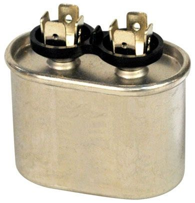 7.5 Microfarad 370 VAC 50 / 60 Hz AC Motor Run Capacitor - 1-Section, Aluminum, Oval