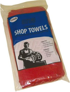 "15"" x 15"" Red Cotton Terry Cloth Shop Towel"