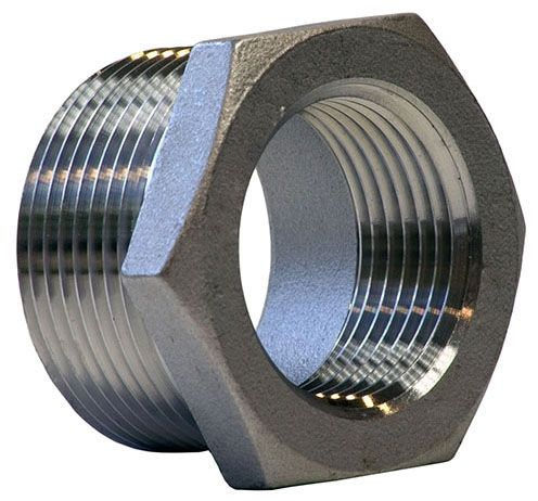 "2-1/2"" x 2"" Cast Stainless Steel Reducing Bushing - MPT x FPT"