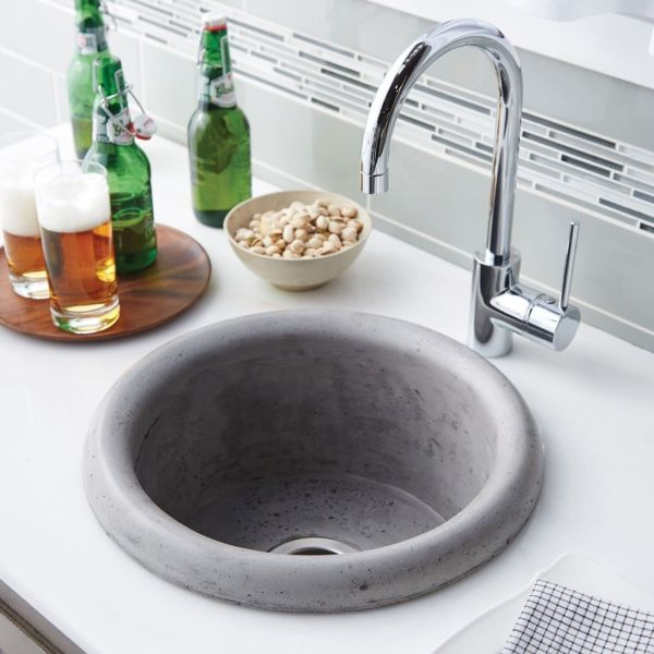 "16"" x 8"" Round Bar and Prep Sink - NativeStone, Ash, 1-Hole"