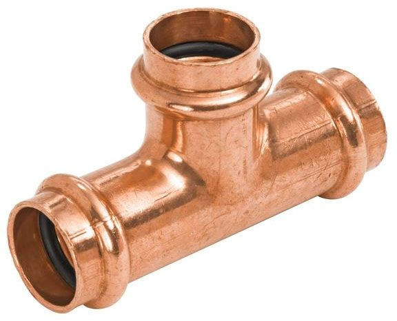 """1-1/4"""" x 1-1/4"""" x 3/4"""" Wrot Copper Alloy Reducing Tee - PRESS SYSTEM, Press"""