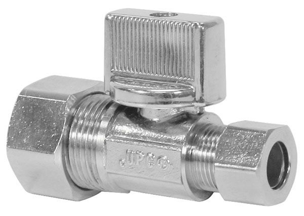 "5/8"" x 3/8"" DZR Chrome Plated Brass Alloy Straight Supply Stop Valve - PRO-Stop - Compression, 125 psi"