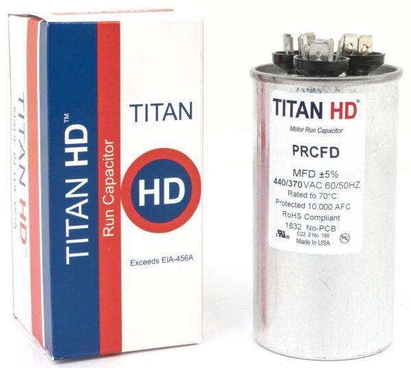 50+5 Microfarad 440 / 370 VAC 50 / 60 Hz Motor Run Capacitor - TITAN HD, 2-Section, Aluminum, Round