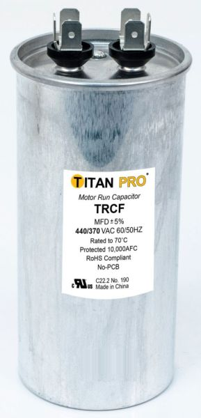 60 Microfarad 440 / 370 VAC 50 / 60 Hz AC Motor Run Capacitor - TITAN PRO, 1-Section, Aluminum, Round