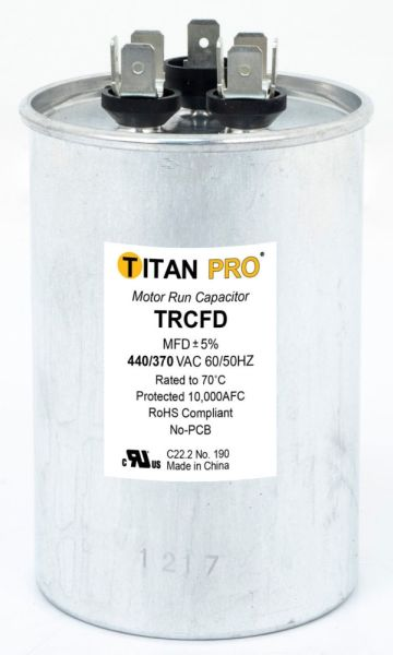 40+7.5 Microfarad 440 / 370 VAC 50 / 60 Hz AC Motor Run Capacitor - TITAN PRO, 2-Section, Aluminum, Round