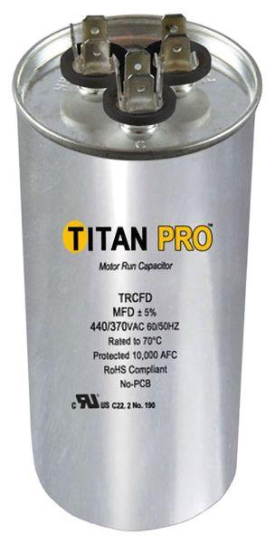 80+10 Microfarad 440 / 370 VAC 50 / 60 Hz AC Motor Run Capacitor - TITAN PRO, 2-Section, Aluminum, Round