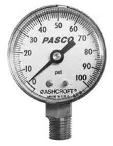 """1/4"""" MPT Pressure Gauge - Plastic, 100 psi"""
