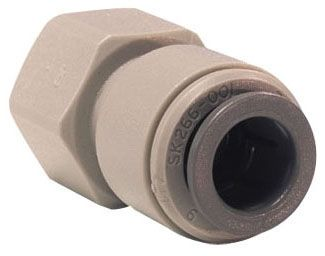 "3/8"" x 3/8"" Grey Acetal Copolymer Flare Connector - Push-Fit x FPT"