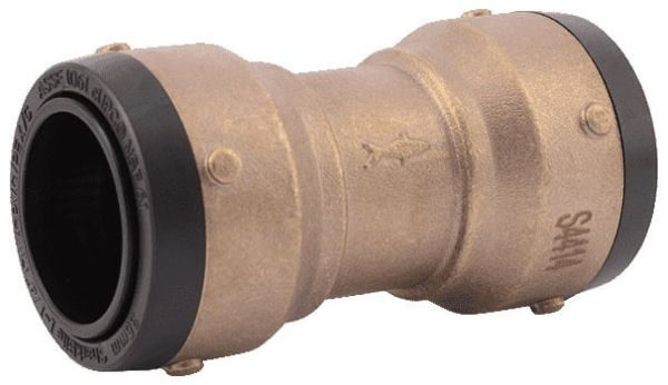 """1-1/4"""" Brass Straight Coupling - Push-Connect, 200 psi"""