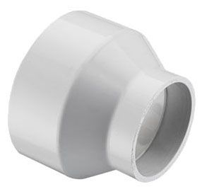 """6"""" x 4"""" White Molded PVC-DWV Reducer - Hub"""