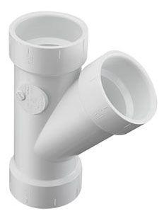 """10"""" White Molded PVC-DWV Straight Wye - Hub"""