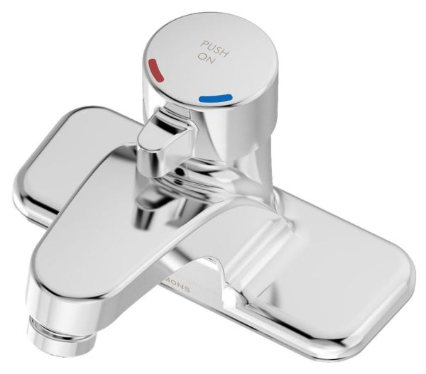 """5-3/4"""" x 3-3/4"""" x 1-1/2"""" x 3-5/8"""" 1-Lever Handle Centerset Metering Bathroom Sink Faucet - SCOT, 0.25 GPC at 60 psi, Polished Chrome"""