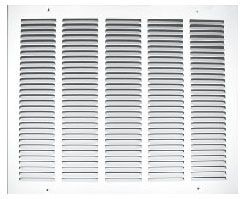 "25"" x 14"" Pristine White Powder Coated Steel Return Air Grille - 1/2"" Fin Spacing"