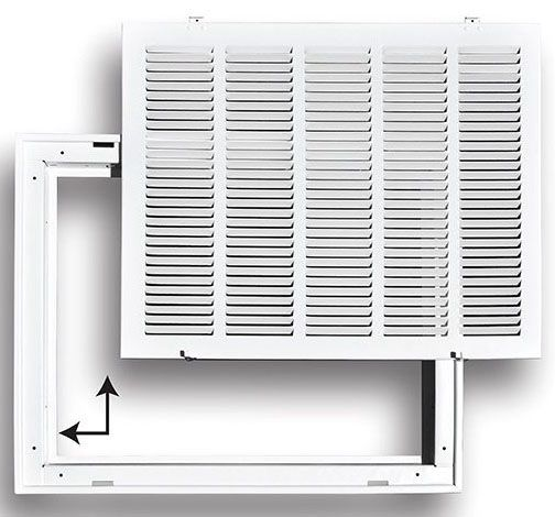 """25"""" x 20"""" Pristine White Powder Coated Steel Return Air Filter Grille - 1/2"""" Fin Spacing"""