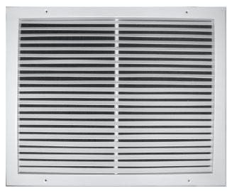 "20"" x 18"" Pristine White Powder Coated Steel Return Air Grille - 3/4"" Fin Spacing, 75D Fin Angle"