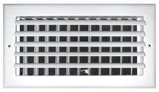 "12"" x 8"" Steel 1-Way Register - Pristine White Powder Coated, Opposed Blade Damper, Sidewall, Ceiling, Adjustable Curved Blade Face"