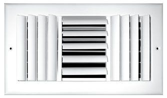 "12"" x 10"" Steel 3-Way Register - Pristine White Powder Coated, Multi-Shutter Damper, Sidewall, Ceiling, Adjustable Curved Blade Face"