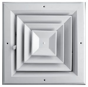 "11"" x 3-1/4"" x 11"" Extruded Aluminum 2-Way Parallel 4-Way Ceiling Diffuser with Opposed Blade Damper - Pristine White Powder Coated"