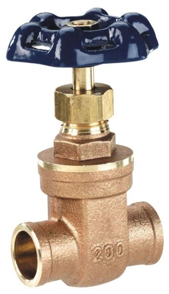 "1"" Brass Gate Valve - Female Socket, 200 psi"