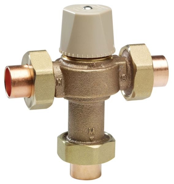 "1/2"" Copper Silicon Alloy Thermostatic Mixing Valve - Socket, 0.5 to 20 GPM, 150 psi"